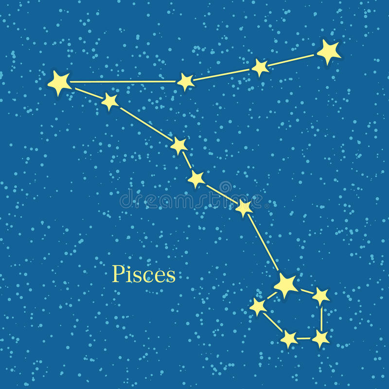 Pisces Zodiac Symbol on Background of Cosmic Sky. Twelfth astrological sign in the Zodiac, originating from the Pisces constellation. Horoscope sign of zodiac royalty free illustration