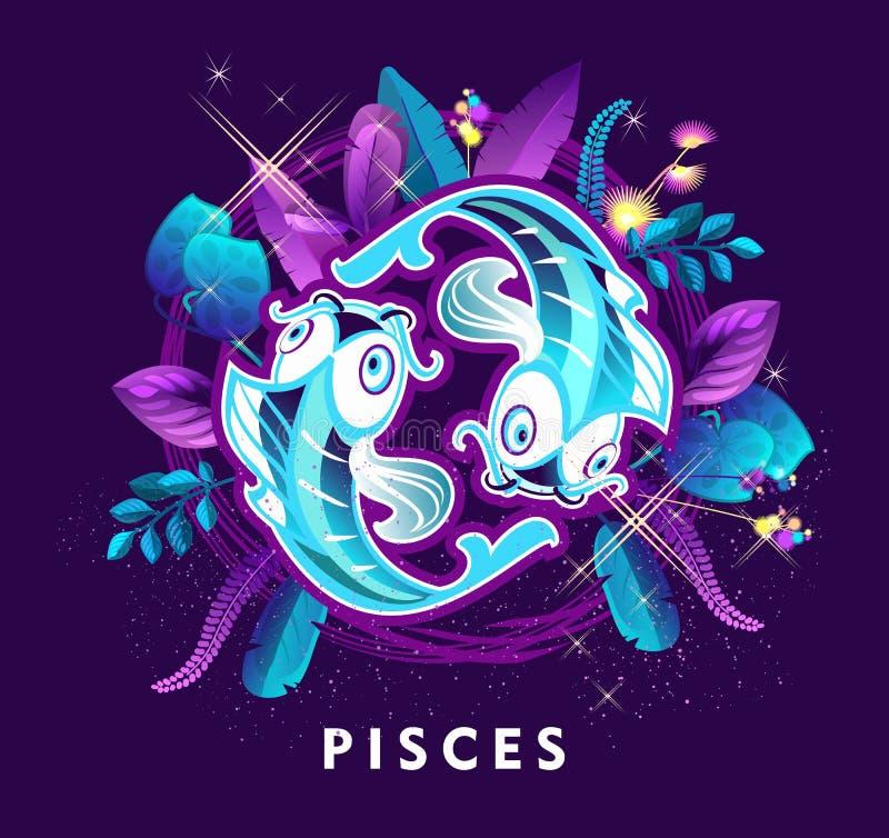 Pisces zodiac-tecken royaltyfri illustrationer