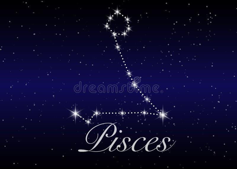 Pisces zodiaka gwiazdozbiory podpisują na pięknym gwiaździstym niebie z galaxy i interliniują behind Rybi szyldowy horoskopu symb ilustracji