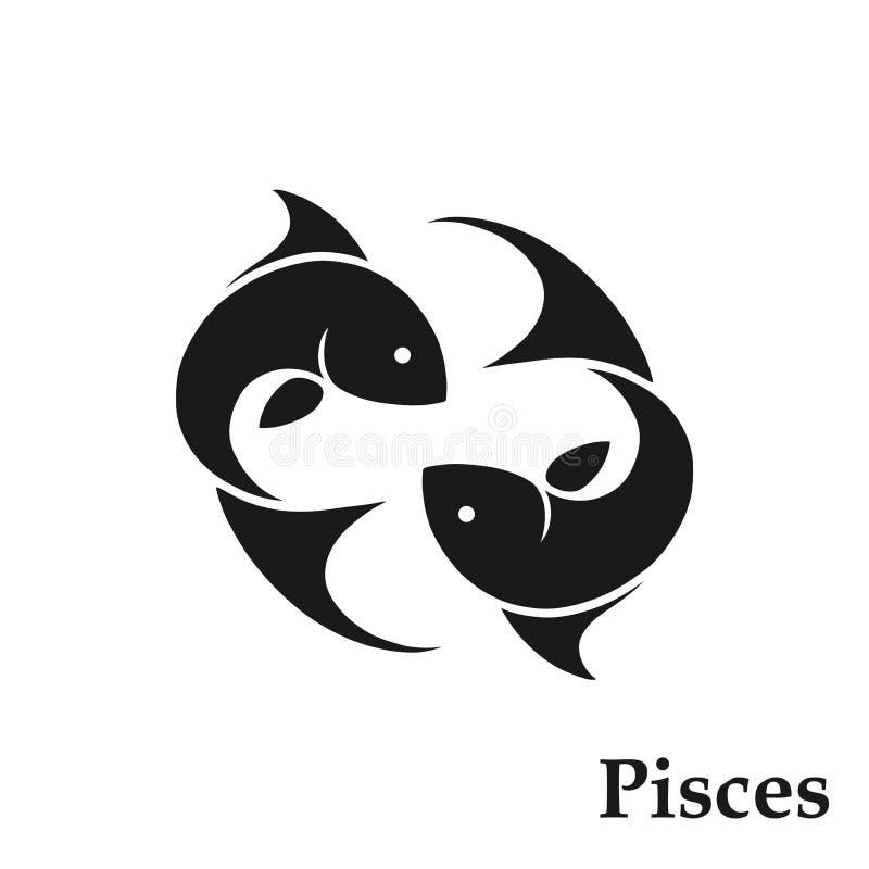 Pisces zodiaka znaka horoskopu symbol Astrologiczna ikona odosobniony ryba wizerunek w czarny i biały stylu royalty ilustracja