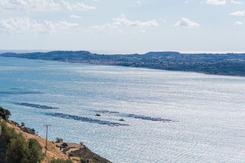 Piscicultura no mar Mediterrâneo a ilha de Kefalonia, Grécia fotografia de stock royalty free