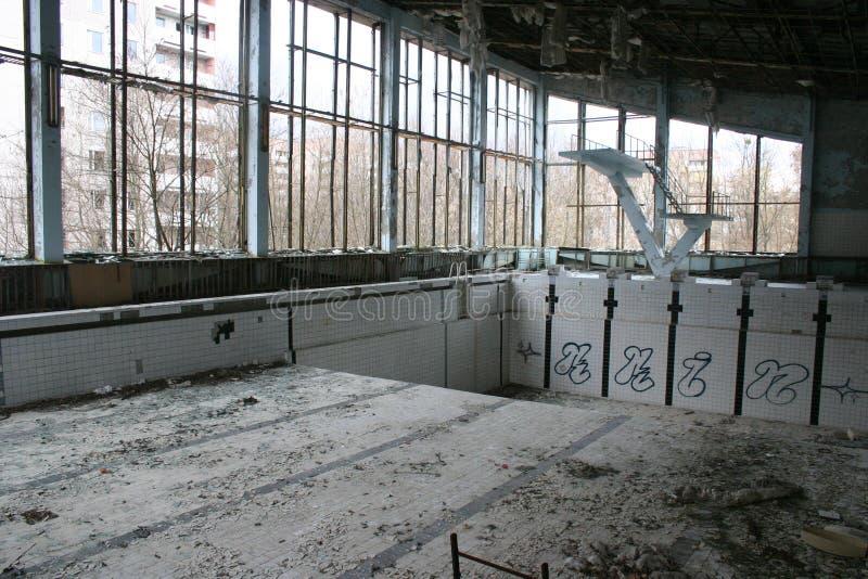Piscina abandonada, Pripyat, Chernobyl foto de archivo