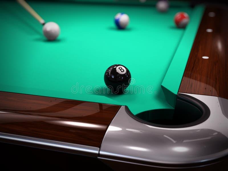 Piscina americana, juego del billar del billar - pegue en la octava bola negra stock de ilustración