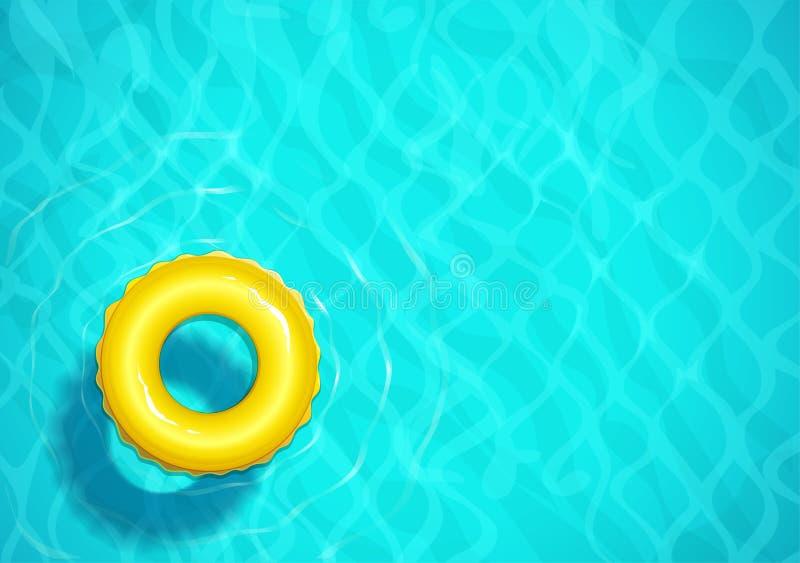 Piscina com anel de borracha para a nadada Água de mar Onda de superfície do oceano ilustração stock
