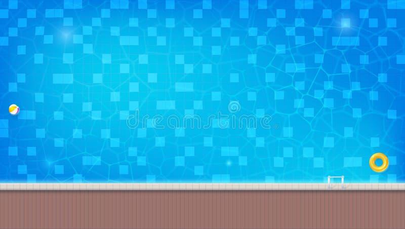 A piscina com flutuação da bola inflável e nadar soa Vista superior da água azul na associação exterior profunda com lado ilustração royalty free
