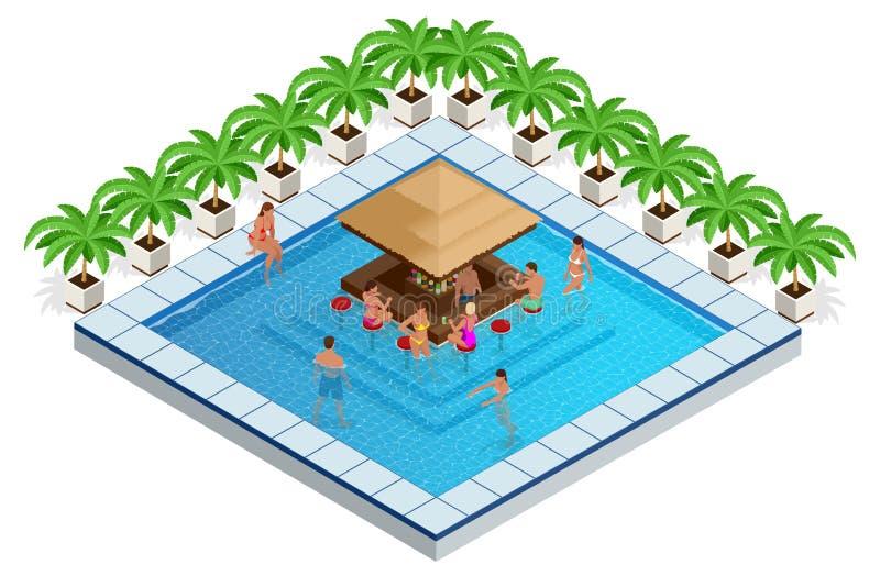 Piscina com ilustração isométrica do vetor da barra os jovens nadam na associação, relaxam e bebem cocktail no ilustração stock