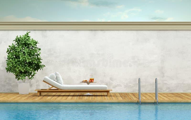 Piscina com sala de estar do chaise ilustração royalty free