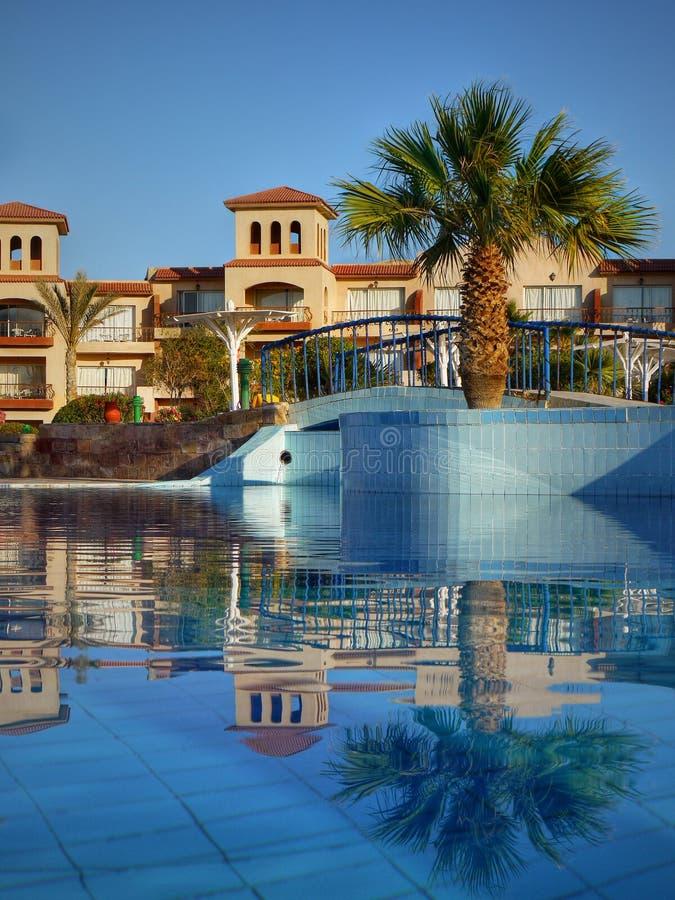 Piscina - complesso dell'albergo di lusso - l'Egitto immagine stock libera da diritti