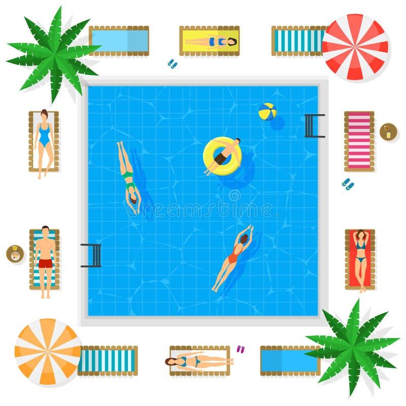 Piscina con concepto de las vacaciones de verano del agua azul Vector ilustración del vector