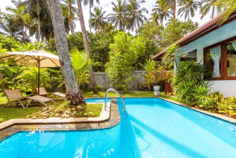 Piscina con las camas del paraguas y de la playa en patio trasero del hotel tropical imagen de archivo libre de regalías