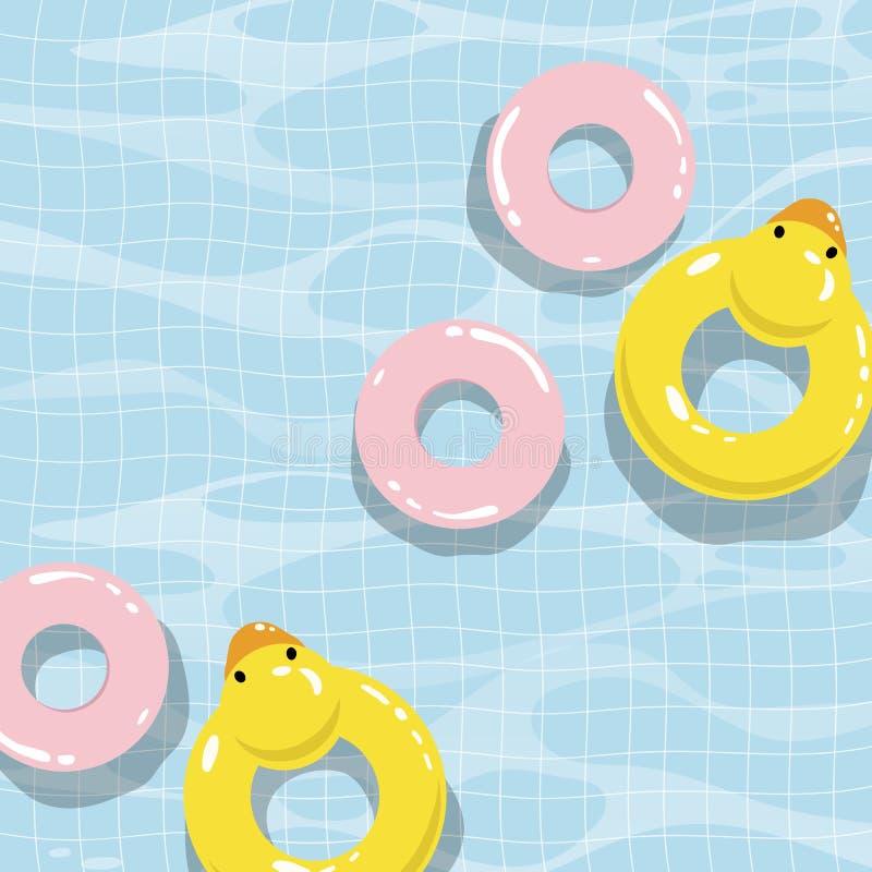 Piscina con los flotadores coloridos, ejemplo del vector de la visión superior ilustración del vector