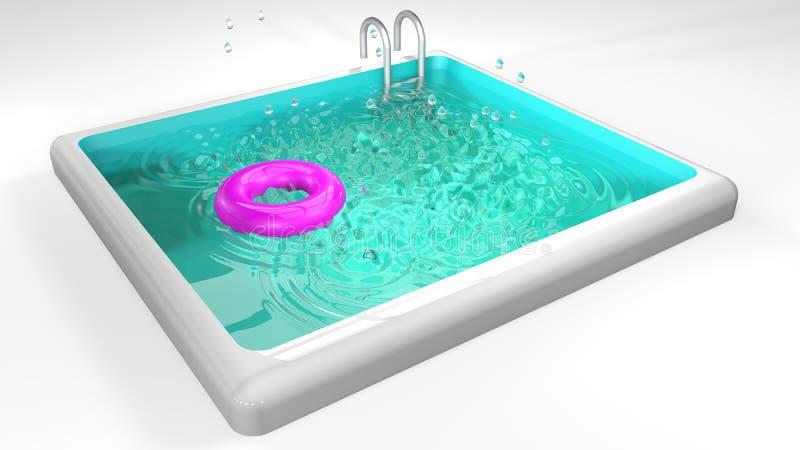 Piscina con salvavidas, la escalera del metal y descensos rosados del agua libre illustration