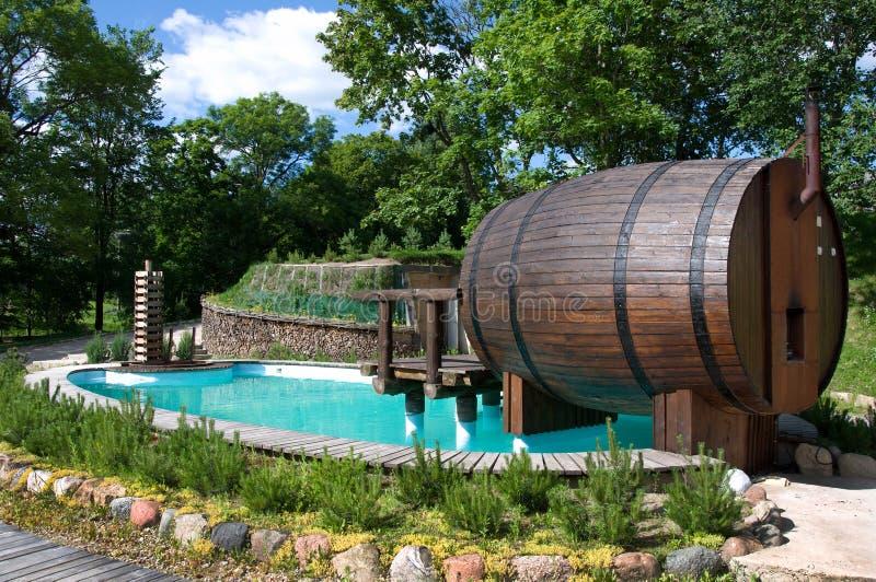 Piscina con sauna imágenes de archivo libres de regalías