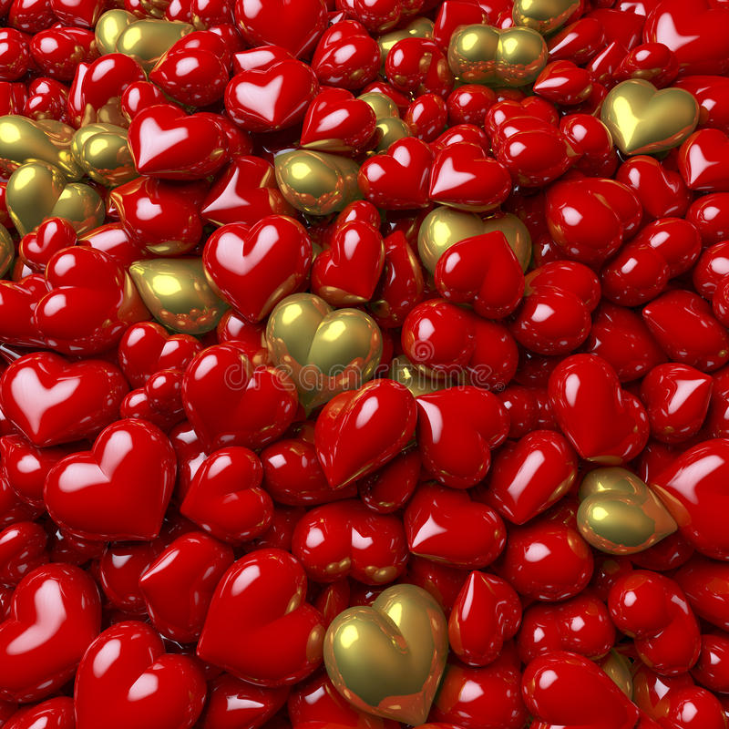 Piscina de corazones brillantes, rojos y de oro stock de ilustración