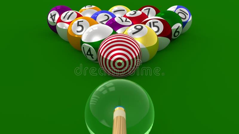 Piscina de la BLANCO - bola 8 enfocada como el objetivo último ilustración del vector