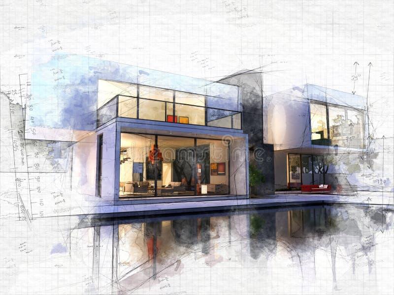 Piscina del cubo A una de la casa stock de ilustración