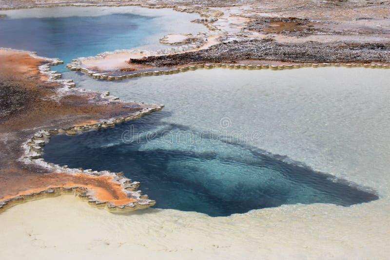 Piscina del doblete, aguas termales dobles de la piscina en lavabo superior del géiser en el parque nacional de Yellowstone, los  imagen de archivo