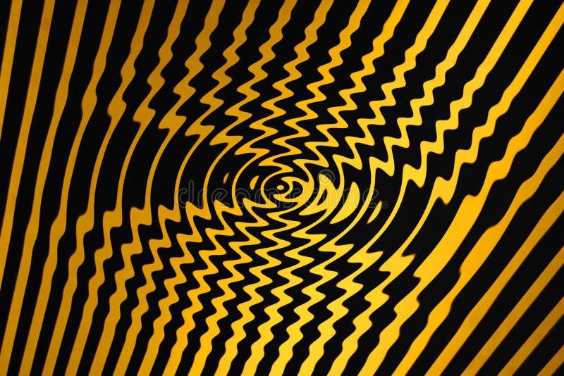 Piscina del giro del peligro que tuerce en espiral (negro y amarillo) ilustración del vector