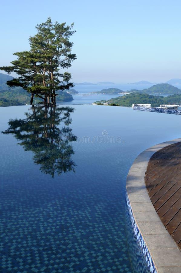 Piscina del infinito del hotel de balneario, vertical sana de las vacaciones de verano de la forma de vida foto de archivo libre de regalías