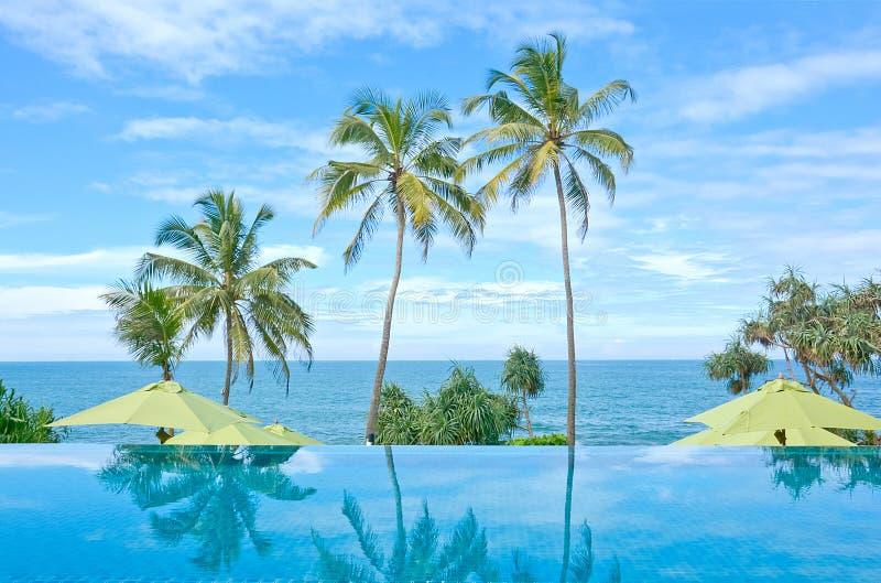 Piscina del infinito en un hotel tropical que localizó en el área costal Negambo, Sri Lanka imagen de archivo libre de regalías