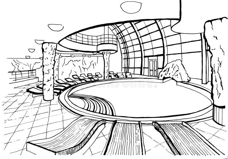 Piscina, desenho da mão, inc ilustração stock