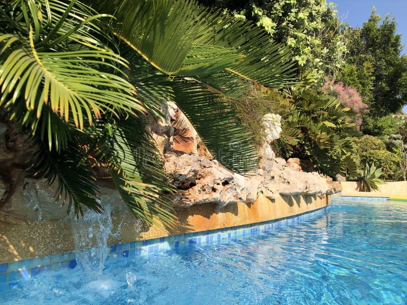 Piscina em um jardim mediterrâneo imagem de stock royalty free