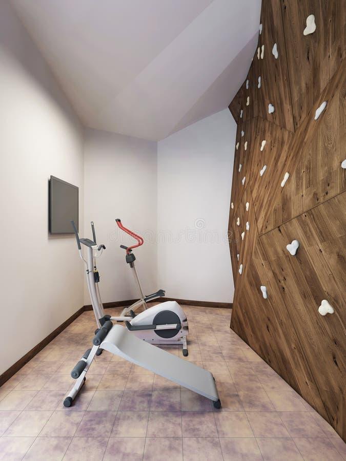 Piscina en una casa privada con el gimnasio y pared que sube en el desván s imagen de archivo