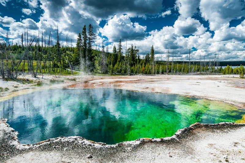 Piscina natural de la agua caliente en Yellowstone NP imagen de archivo