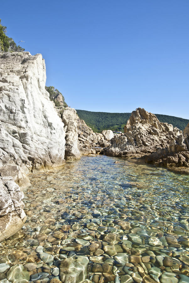 Piscina Naturale. Vista di una spiaggia di sassi con basso fondale e bellissima acqua che forma una piscina naturale royalty free stock image