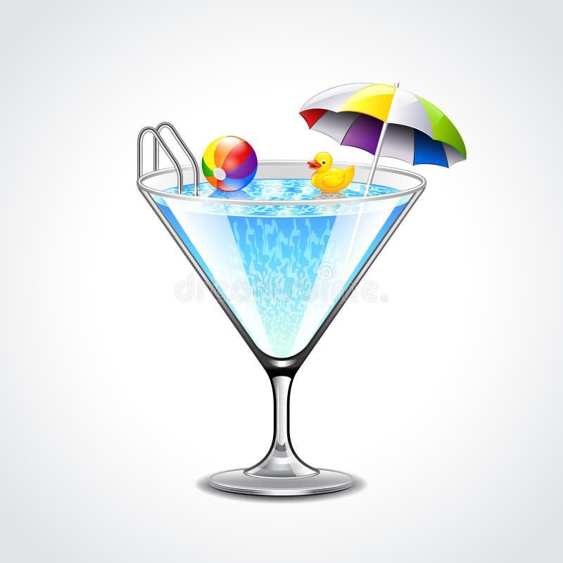 Piscina nel concetto di vetro di vacanza di martini
