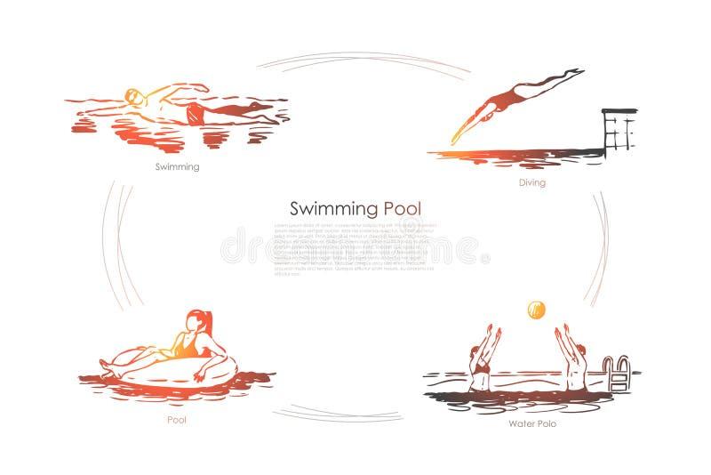 Piscina - nuoto, immersione subacquea, pallanuoto, insieme di concetto di vettore dello stagno illustrazione vettoriale