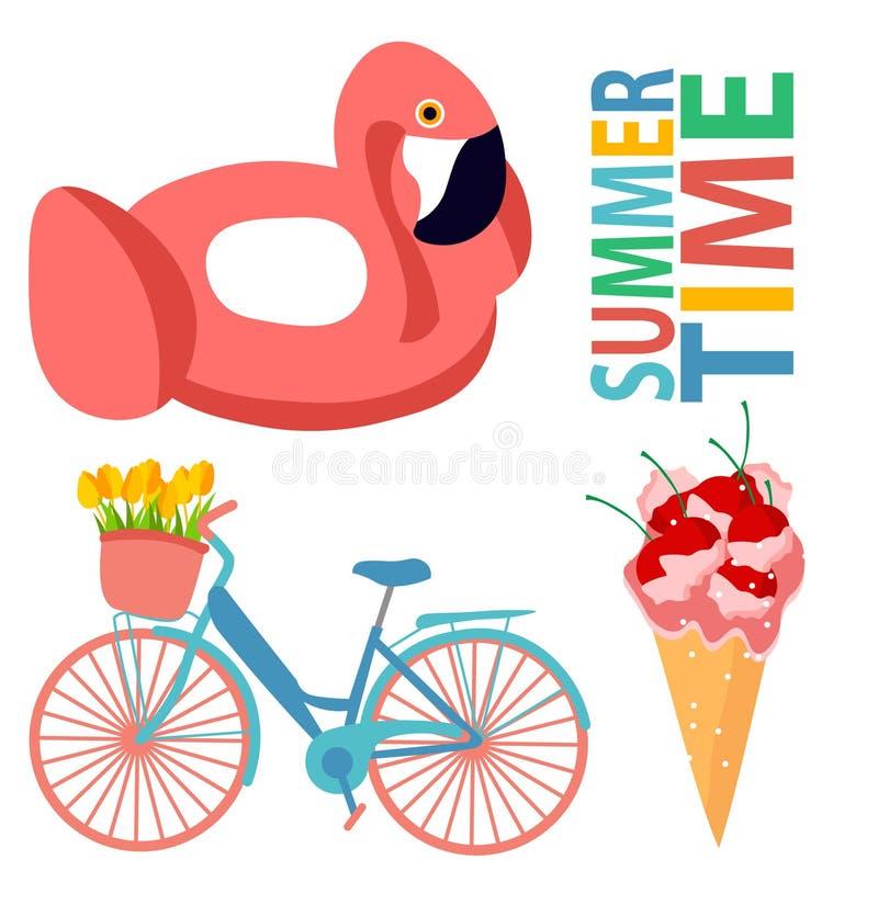Piscina rosada del verano de la bicicleta del helado del diseño del verano del diseño del flamenco de la cereza de la impresión d libre illustration