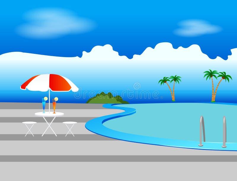 Piscina, sombrilla y bebidas ilustración del vector