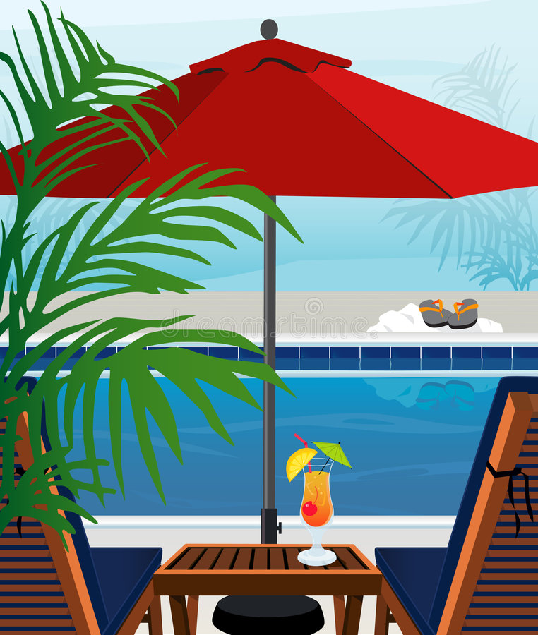 Piscina tropical stock de ilustración