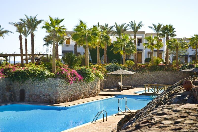 Piscina tropical del hotel imagen de archivo