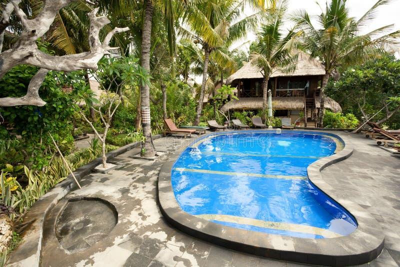 Piscina tropical no hotel imagens de stock