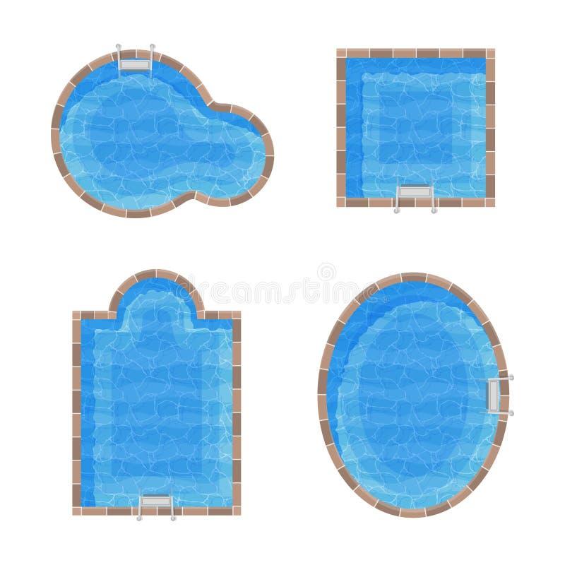 Piscinas diferentes dos formulários ajustadas Vista superior ilustração do vetor