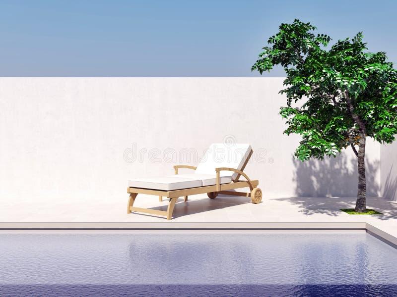 Piscine avec l'image générée par ordinateur 3d d'arbre du soleil de ciel bleu illustration stock