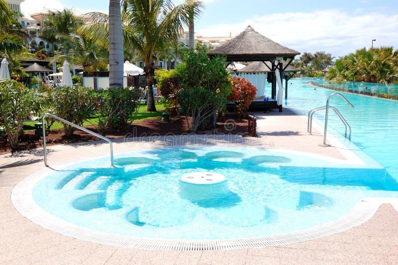 piscine avec le jacuzzi l 39 h tel de luxe image stock image du c te chelle 22509831. Black Bedroom Furniture Sets. Home Design Ideas