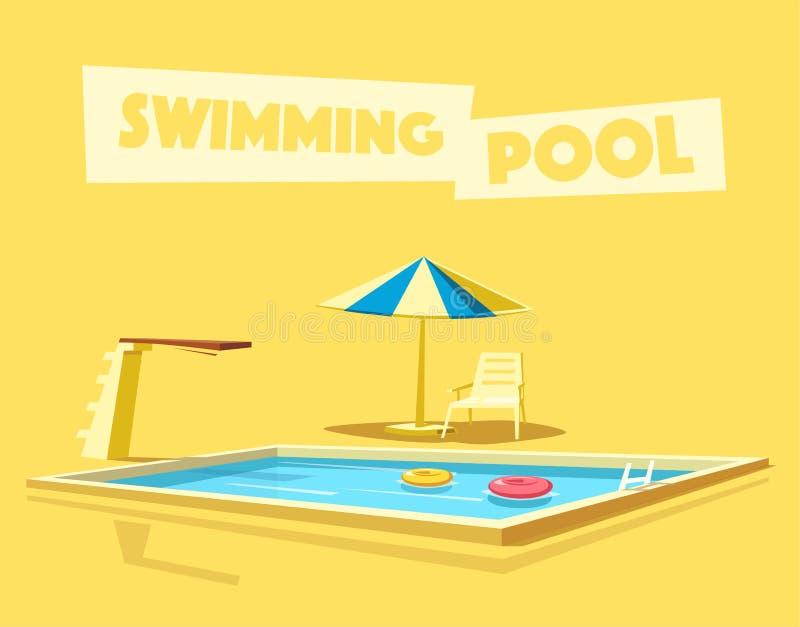 piscine avec un conseil de plong e illustration de vecteur de dessin anim illustration de. Black Bedroom Furniture Sets. Home Design Ideas