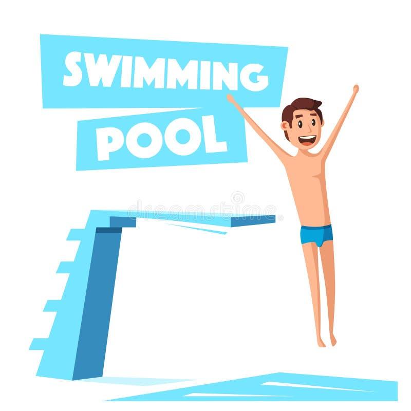 Piscine avec un conseil de plong e illustration de vecteur for Conseil piscine