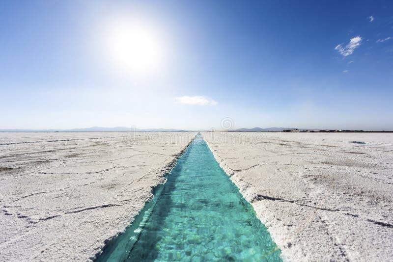 Piscine d'eau sur des salines Grandes Jujuy, Argentine. photos libres de droits