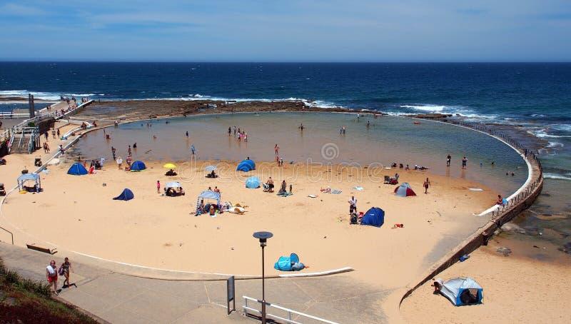 Piscine d'océan, plage de Newcastle, NSW, Australie images stock