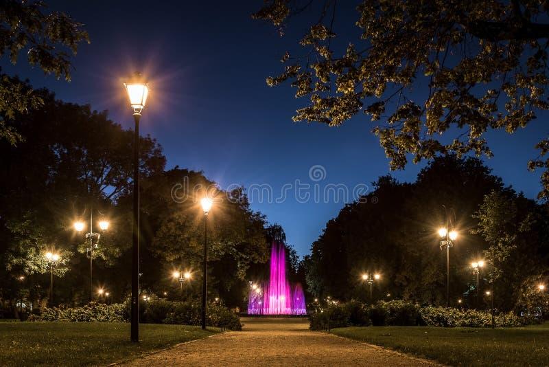 Piscine de jardin la nuit, Vilnius image libre de droits