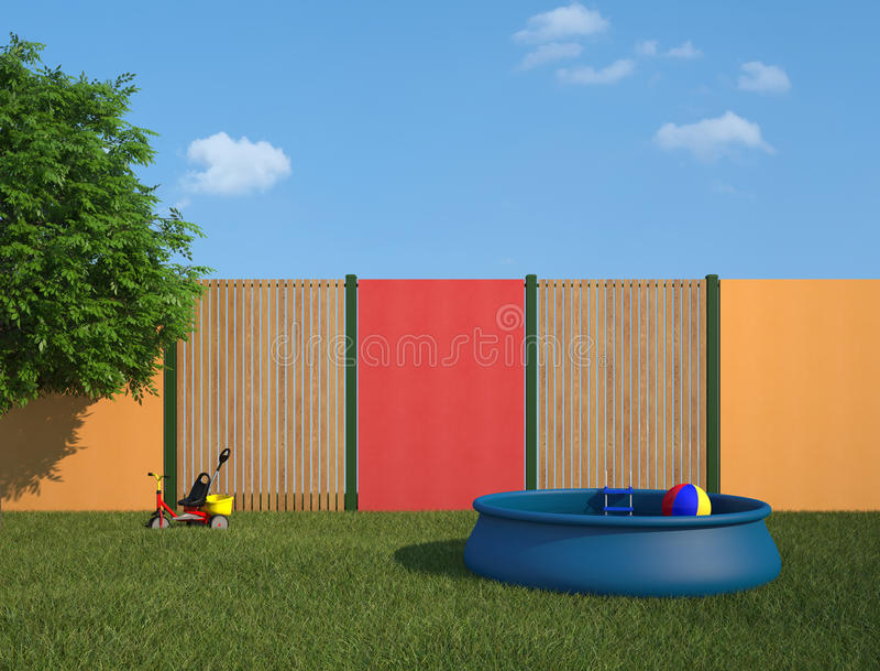 piscine en plastique dans le jardin photographie stock. Black Bedroom Furniture Sets. Home Design Ideas