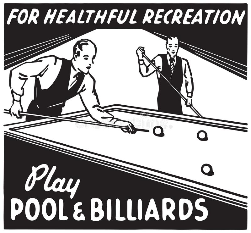Piscine et billards de jeu illustration stock