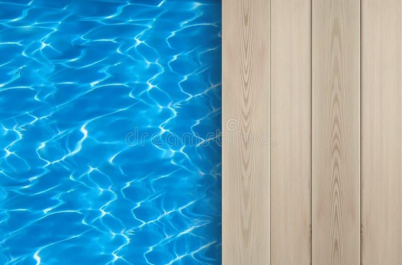 Piscine et idéal en bois de plate-forme pour des milieux photographie stock