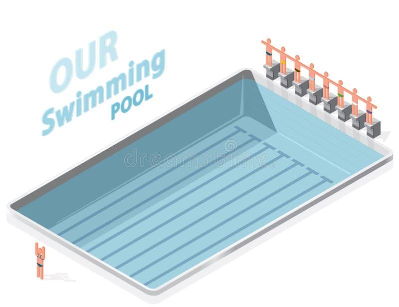 Piscine isométrique avec des nageurs Les sportifs sur le tremplin préparent le bain illustration de vecteur