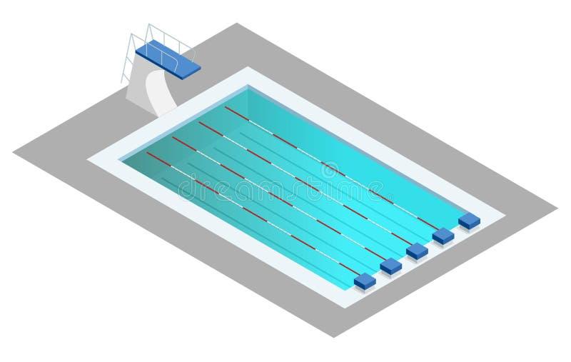 Piscine isométrique réaliste de sport Conception de perspective utilisée pour la création d'infographics, de bannière, d'affiche  illustration stock