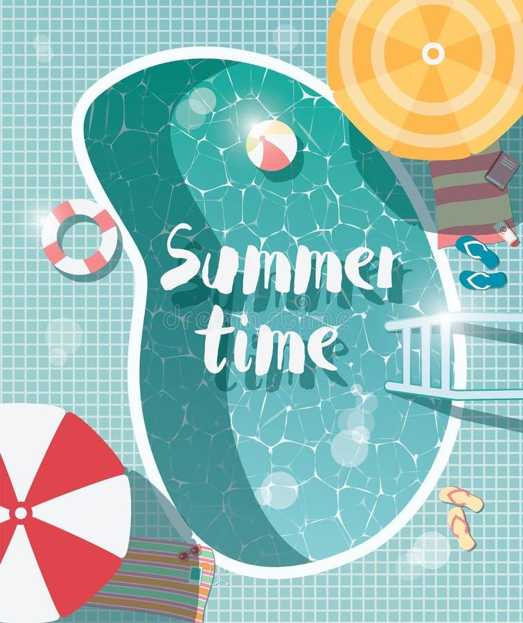 Piscine, vue supérieure, vacances de vacances d'heure d'été, wat clair illustration libre de droits